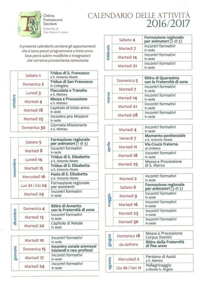 ofsinlamis - calendario attività 2016-17